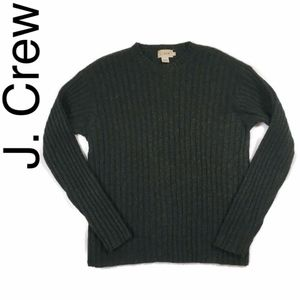 J. Crew wool ribbed crewneck sweater in evergreen
